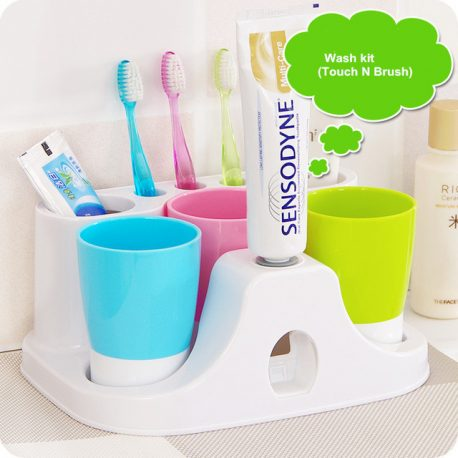 3 CUPS + TOOTHPASTE DISPENSER and Holder