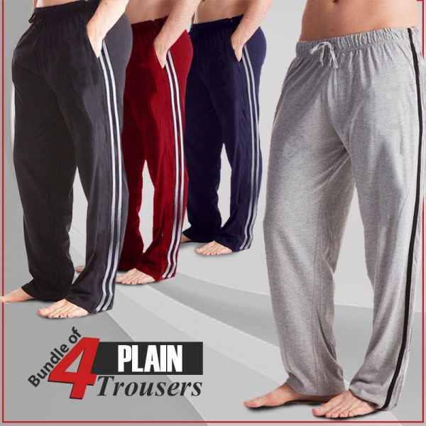 Bundle of 4 Plain Trousers for Men