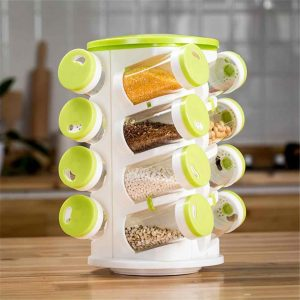 16 In 1 Spice Rack With Cutlery Holder Compact Rotating Revolving Condiments Jars Shelf Organizer