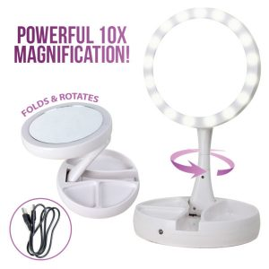 Foldaway Mirror With LED Lights