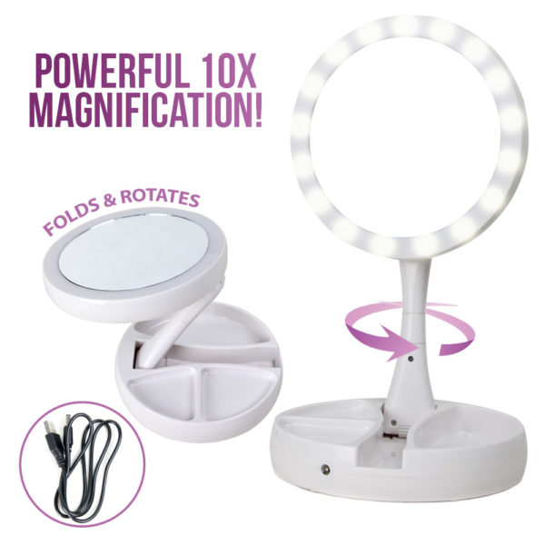 Foldaway Mirror With LED Lights