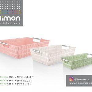 Limon Bamboo Basket With Steel Handle 3Pc Set