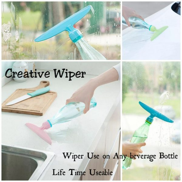 Pack of 3 - Window Wiper with Built-in Bottle - 2-in-1 Window Cleaner