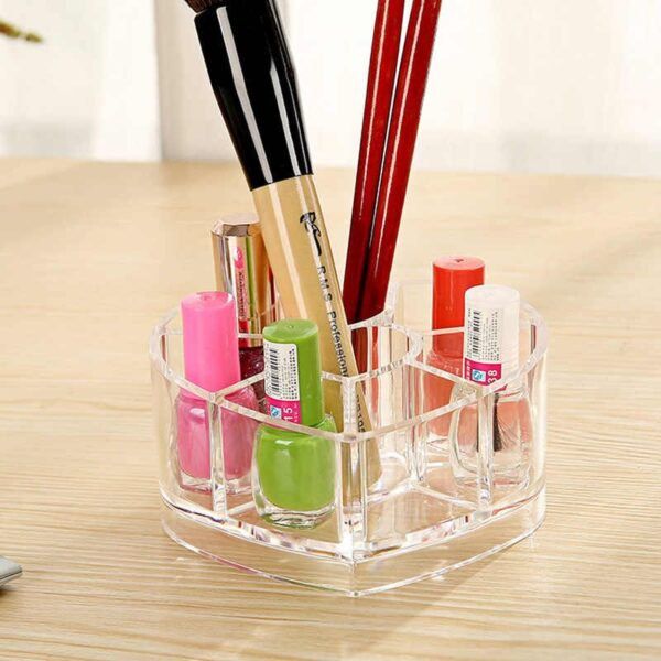 """alt=""""Cosmetic Organizer Acrylic Heart Shaped With 8 Grids Store"""""""